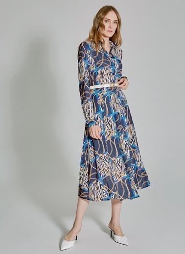 People By Fabrika Desenli Gömlek Elbise Lacivert